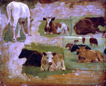 Eugene-Louis Boudin Study of Cattle - Hand Painted Oil Painting