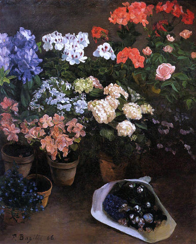 Jean Frederic Bazille Study of Flowers - Hand Painted Oil Painting