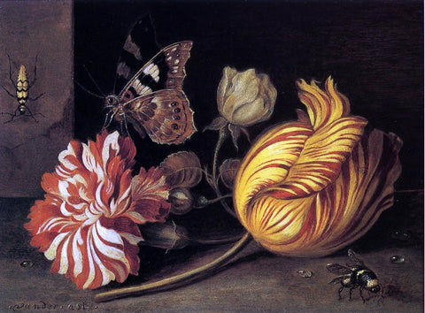 Balthasar Van der Ast Study of Flowers and Insects - Hand Painted Oil Painting