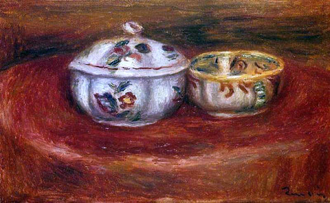 Pierre Auguste Renoir Sugar Bowl and Earthenware Bowl - Hand Painted Oil Painting