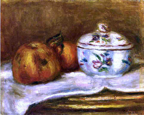 Pierre Auguste Renoir Sugar Bowl, Apple and Orange - Hand Painted Oil Painting