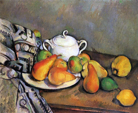 Paul Cezanne Sugarbowl, Pears and Tablecloth - Hand Painted Oil Painting