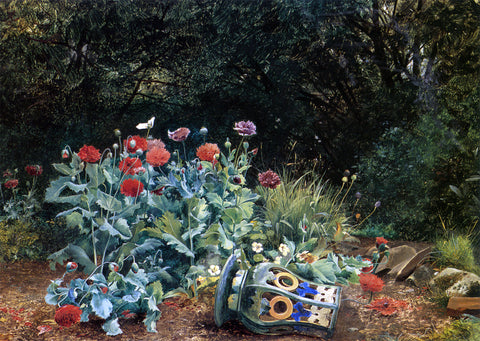 David Bates Summer Flowers in a Quiet Corner of the Garden - Hand Painted Oil Painting