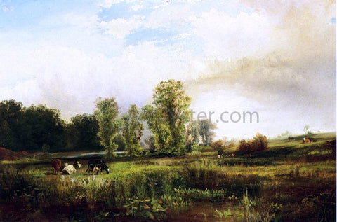 Thomas Moran Summer Landscape with Cows - Hand Painted Oil Painting