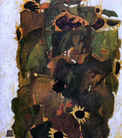 Egon Schiele Sunflowers - Hand Painted Oil Painting