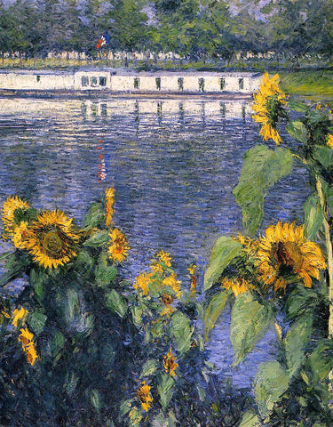 Gustave Caillebotte Sunflowers on the Banks of the Seine - Hand Painted Oil Painting
