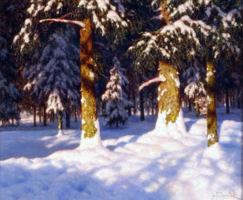 Ivan Fedorovich Choultse Sunlit Forest Interior - Hand Painted Oil Painting