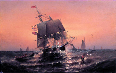 Elisha J. Taylor Baker Sunrise, from Shore to Ship - Hand Painted Oil Painting