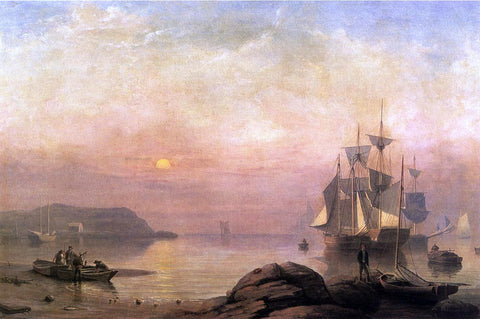 Fitz Hugh Lane Sunrise Through Mist - Hand Painted Oil Painting