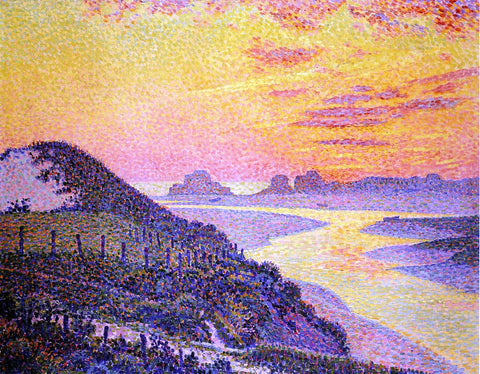 Theo Van Rysselberghe Sunset at Ambletsuse, Pas-de-Calais - Hand Painted Oil Painting