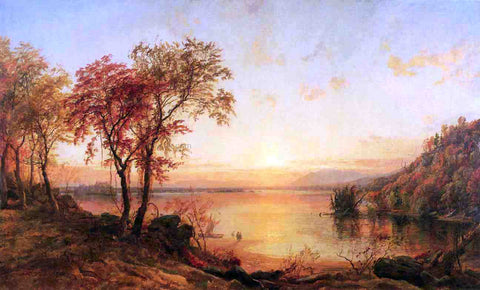 Jasper Francis Cropsey Sunset at Greenwood Lake - Hand Painted Oil Painting