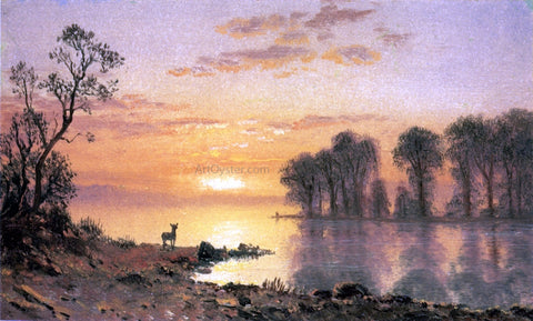 Albert Bierstadt Sunset over the River - Hand Painted Oil Painting