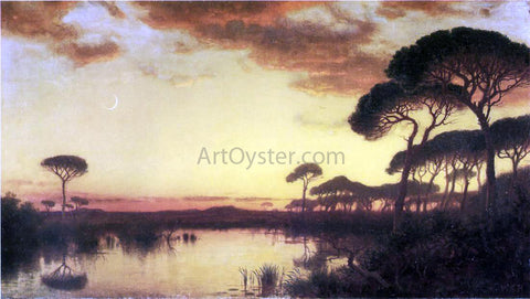 William Stanley Haseltine Sunset Glow, Roman Campagna - Hand Painted Oil Painting