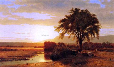 William M Hart Sunset in the Valley - Hand Painted Oil Painting