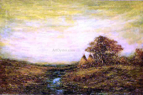 Ralph Albert Blakelock Sunset, Indian Encampment - Hand Painted Oil Painting