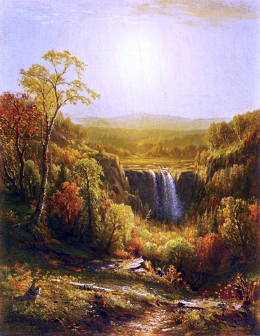 John Carleton Wiggins Sunset, Kaaterskill Falls - Hand Painted Oil Painting
