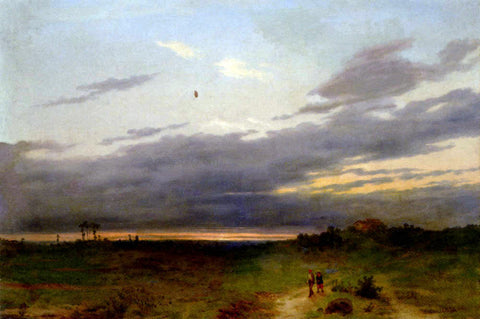 Carlo Piacenza Sunset Landscape With Two Figures On A Track - Hand Painted Oil Painting