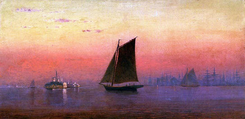 Francis A Silva Sunset, New York Harbor - Hand Painted Oil Painting
