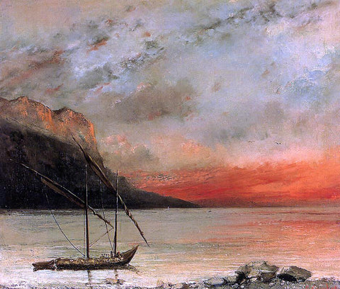 Gustave Courbet Sunset on Lake Leman - Hand Painted Oil Painting