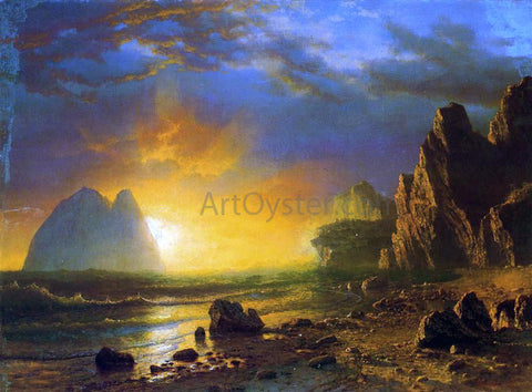 Albert Bierstadt A Sunset on the Coast - Hand Painted Oil Painting