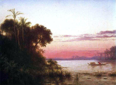 Louis Remy Mignot Sunset on the Guayaquil - Hand Painted Oil Painting