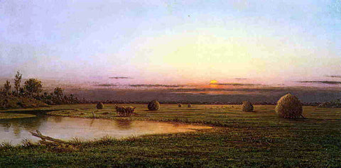 Martin Johnson Heade Sunset on the Rowley Marshes - Hand Painted Oil Painting