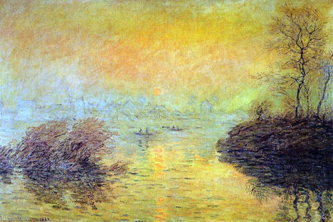 Claude Oscar Monet Sunset on the Seine at Lavacourt, Winter Effect - Hand Painted Oil Painting