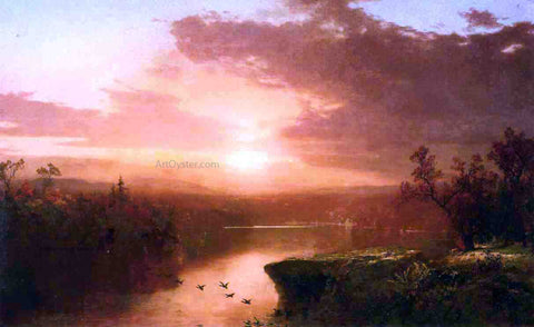 John Frederick Kensett Sunset over Lake George - Hand Painted Oil Painting