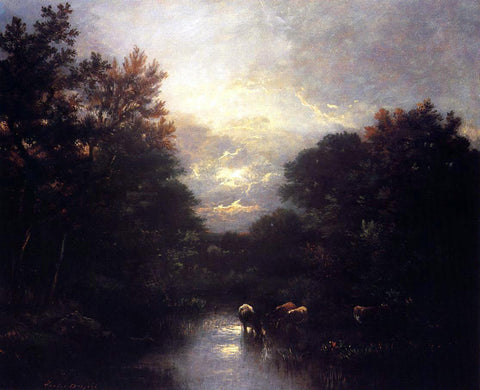Jules Dupre Sunset over the Forest - Hand Painted Oil Painting