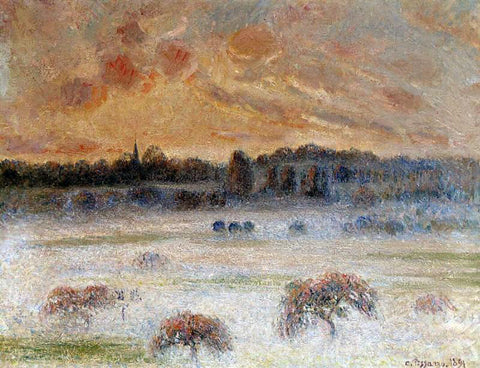 Camille Pissarro Sunset with Fog, Eragny - Hand Painted Oil Painting