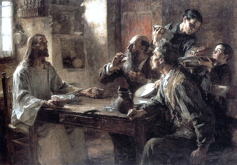 Leon Augustin L'hermitte) Supper at Emmaus - Hand Painted Oil Painting