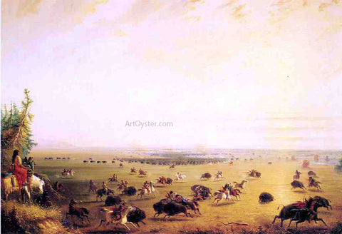 Alfred Jacob Miller Surround of Buffalo by Indians (also known as The Surround) - Hand Painted Oil Painting