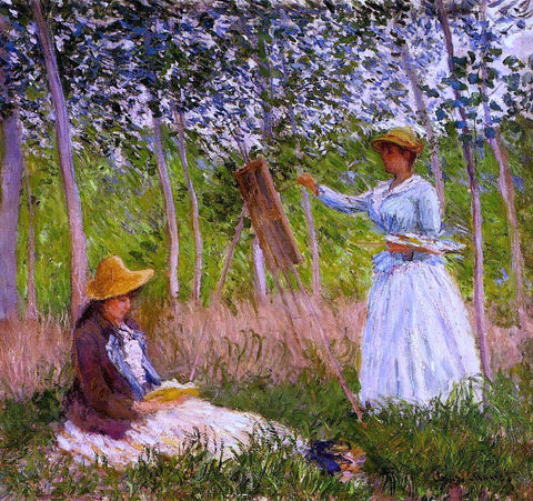 Claude Oscar Monet Suzanne Reading and Blanche Painting by the Marsh at Giverny - Hand Painted Oil Painting