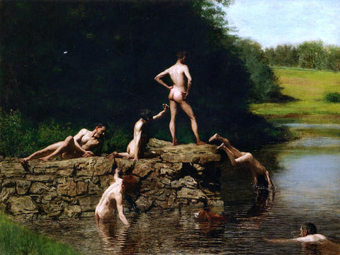Thomas Eakins Swimming - Hand Painted Oil Painting