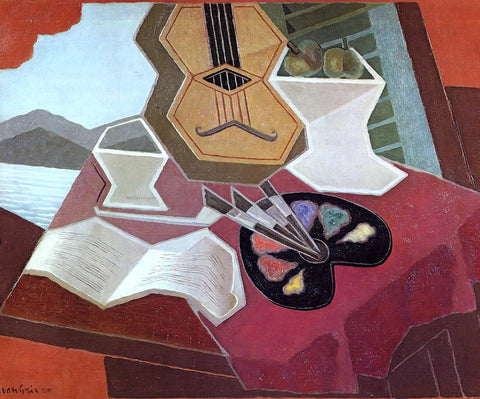 Juan Gris Table Overlooking the Sea - Hand Painted Oil Painting
