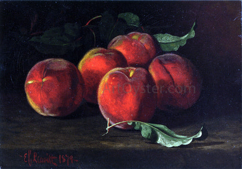 Edward C Leavitt Table Top Still Life of Peaches - Hand Painted Oil Painting