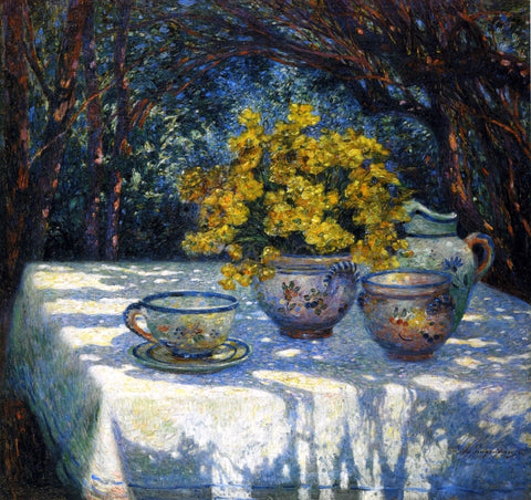 Ferdinand Du Puigaudeau Table with Yellow Bouquet - Hand Painted Oil Painting