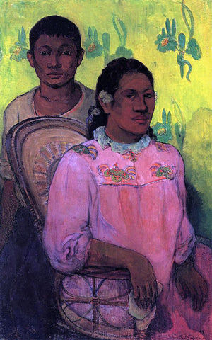 Paul Gauguin Tahitian Woman and Boy - Hand Painted Oil Painting