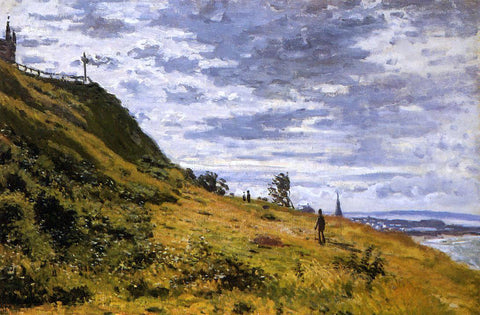 Claude Oscar Monet Taking a Walk on the Cliffs of Sainte-Adresse - Hand Painted Oil Painting