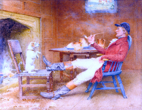 John Arthur Lomax Teaching a Dog New Tricks - Hand Painted Oil Painting