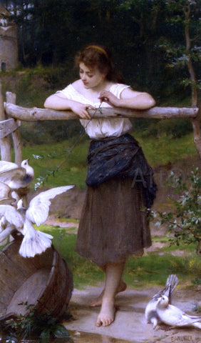 Emile Munier Teasing the Doves - Hand Painted Oil Painting