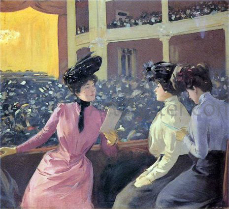 Ramon Casas Teatre Novedades - Hand Painted Oil Painting
