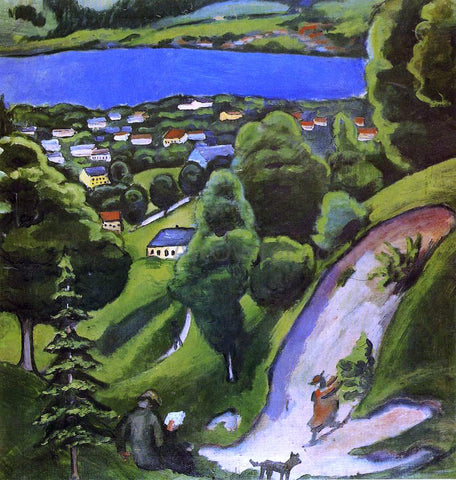 August Macke Tegernsee Landscape with Man Reading and Dog - Hand Painted Oil Painting