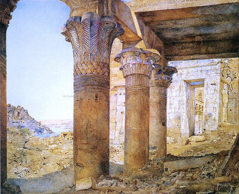 Henry Roderick Newman Temple of Philae from the Outer Court - Hand Painted Oil Painting