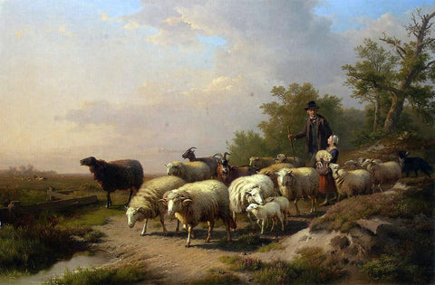 Anton Mauve Tending the Flock - Hand Painted Oil Painting