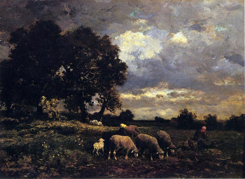 Charles Emile Jacque Tending the Flock - Hand Painted Oil Painting