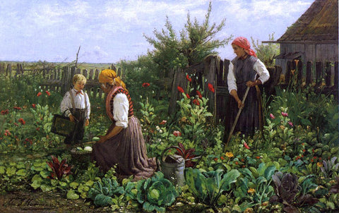 John J Hammer Tending the Garden - Hand Painted Oil Painting
