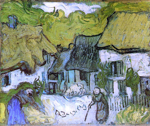 Vincent Van Gogh Thatched Cottages in Jorgus - Hand Painted Oil Painting