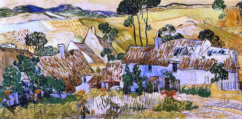 Vincent Van Gogh Thatched Houses against a Hill - Hand Painted Oil Painting