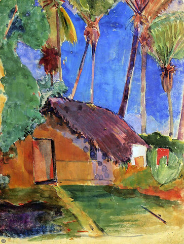 Paul Gauguin Thatched Hut under Palm Trees - Hand Painted Oil Painting